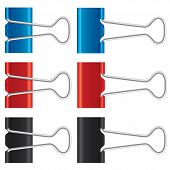 Binder clips set. Paper clips collection. Vector