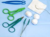 Scissors, Forceps, Surgical Gauze, Suture Needle
