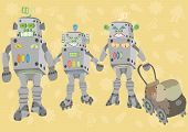 Família feliz de robôs