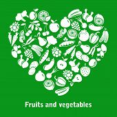 picture of olive shaped  - vector heart made of fruits and vegetables - JPG