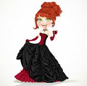 Beautiful vampire in a ball gown with a glass of blood