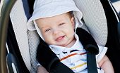 Happy Baby In The Car Seat