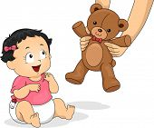stock photo of baby bear  - Illustration of a Baby Girl Delighted to be Handed a Teddy Bear - JPG