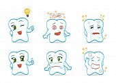 stock photo of chibi  - An illustration of different cartoon teeth characters - JPG