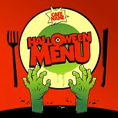 stock photo of cannibal  - Halloween menu card design with zombie hands - JPG