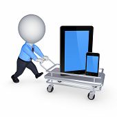 Tablet PC and cellphone on pushcart.