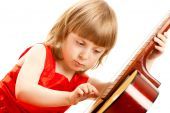 Girl In Red Dress Play The Guitar