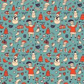 New year cartoon seamless pattern in bright colors for stylish backgrounds with Santa, Deer, Snowman and others. Seamless pattern can be used for wallpapers,  web page backgrounds,surface textures