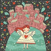 Fantastic romantic card with cute angel with heart in hands. Stylish childish background with small