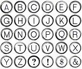 Grunge Alphabet From Vintage Typewriter Keys