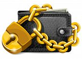 stock photo of personal safety  - Wallet closed on the lock - JPG