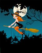 Halloween Witch flying on broom banner