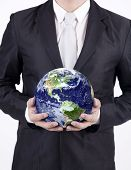 Close-up Businessman Hold Globe - Isolated