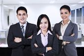 stock photo of united we stand  - Confident business people looking at camera smiling - JPG