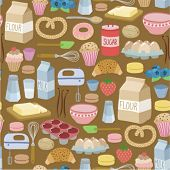 picture of cream cake  - seamless pattern with cooking ingredients - JPG
