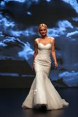 ZAGREB, CROATIA - OCTOBER 04: Fashion model wears dress made by Katjusha on 'Wedding days' show, Oct