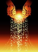 picture of gold-dust  - Stylized hands pouring vector magic and stars - JPG