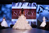 ZAGREB, CROATIA - OCTOBER 04: Fashion model wears dress made by Nancy on 'Wedding days' show, October 04, 2013 in Zagreb, Croatia.