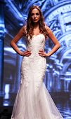 ZAGREB, CROATIA - OCTOBER 04: Fashion model wears dress made by Royal Bride on 'Wedding days' show,