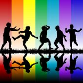 Children Silhouettes Playing Over Rainbow Background