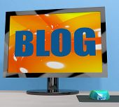 Blog On Monitor Shows Blogging Or Weblog Online