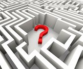 Question Mark In Maze Shows Confusion