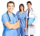 image of medical doctors  - Smiling medical doctors with stethoscope - JPG