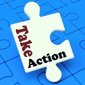 Take Action Puzzle Shows Inspire Inspirational And Motivate