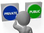 Private Public Buttons Show Personal Or Privacy
