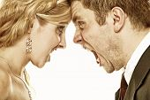 stock photo of yell  - Wedding couple relationship difficulties - JPG