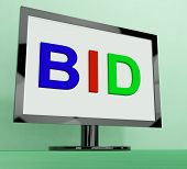 Bid On Monitor Shows Bidding Or Auction