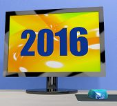 Two Thousand And Sixteen On Monitor Shows Year 2016
