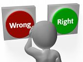 Wrong Right Buttons Show Truth Or Error