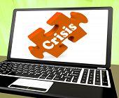 Crisis Laptop Means Catastrophe Troubles Or Critical Situation