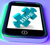 Blog On Phone Shows Mobile Blogging Or Weblog Website