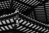 Black & White Japanese Pagoda Roof Beams