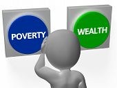 stock photo of opulence  - Poverty Wealth Buttons Showing Indebtedness Or Opulence - JPG