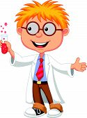 Boy cartoon doing holding reaction tube