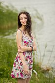 Portrait of a beautiful young brunette woman