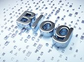 SEO web design concept: Silver Blog on digital background