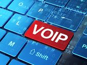 Web design concept: VOIP on computer keyboard background