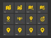 Map icons. GPS and Navigation.