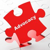 Law concept: Advocacy on puzzle background