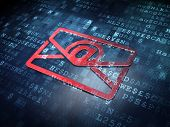 Business concept: Red Email on digital background