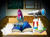 Illustration of a science laboratory room