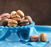 French Macaroons.  Coffee, Chocolate, Vanilla And Raspberry Macarons