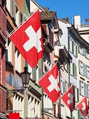 stock photo of zurich  - Swiss National Day on August 1 in Zurich - JPG