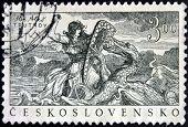 CZECHOSLOVAKIA - CIRCA 1952: stamp printed in Czechoslovakia shows The legend of the Trutnov dragon