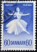 DENMARK - CIRCA 1965: A stamp printed in Denmark shows Ballet Dancer Danish
