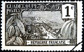 FRANCE - CIRCA 1917: A stamp printed in Guadeloupe shows Harbor at Basse-Terre circa 1917